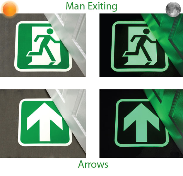 Glow in the Dark Fire Exit Floor Sign - Easy to Install and Cost Effective! _SKU-8340