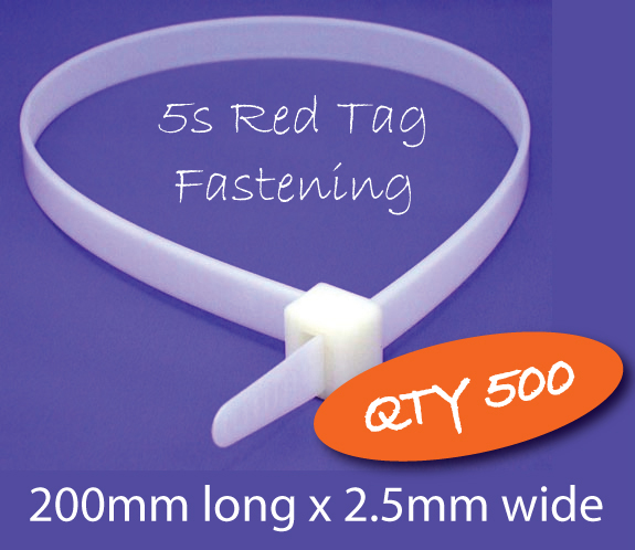 5S Red Tag Fastening - Cable Ties (QTY 500) _SKU-10574