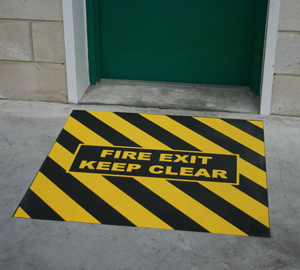 Fire Exit Floor Sign - Anti-slip, Easy to Install and Cost Effective! (Single door and double door sizes) _SKU-8284
