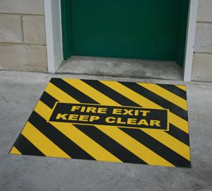 Fire Exit Floor Sign - Anti-slip, Easy to Install and Cost Effective! (Single door and double door sizes) _SKU-8284