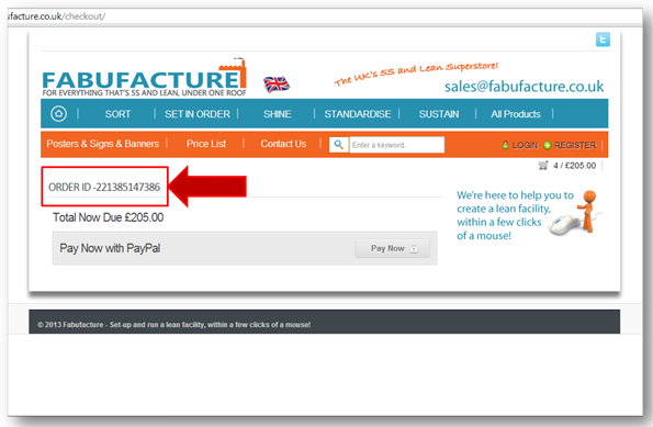 International Orders Fabufacture 5S LEAN MANUFACTURING