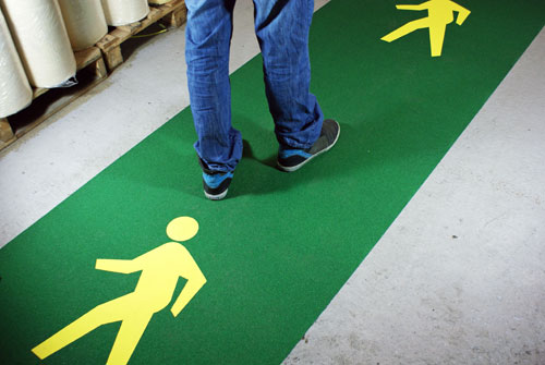 Factory Floor Marking - Quick and Easy Walkway Lane System (1m wide x 5m or 10m long) _SKU-8035