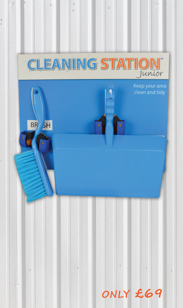 Wall Mounted Cleaning Station Shadow Board - Junior 2 Edition (All Tools Included) _SKU-11795
